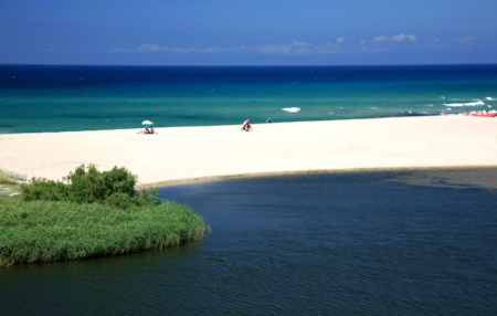 White beach in island Sardinia in Italy.  photo