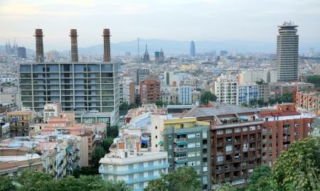 Sunset in Barcelona in Spain photo