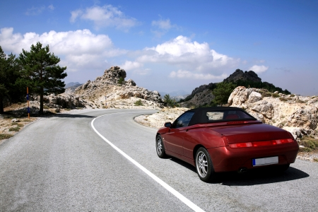 car on road: Car in the mountain