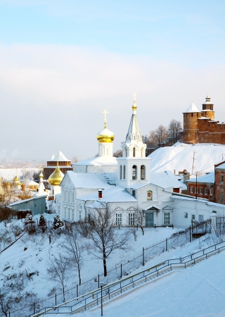 January view Church of Elijah the Prophet and Kremlin Nizhny Novgorod Russia photo