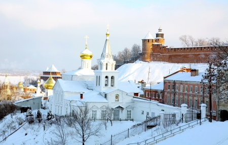 Panoramic January view Church Elijah Prophet and Kremlin Nizhny Novgorod Russia photo