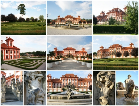 troya: Collage of Troya Castle in Prague, Czech Republic