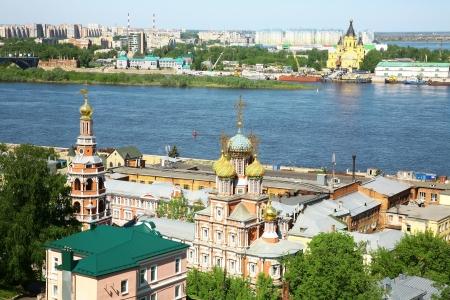 Spring view of Stroganov Church and Cathedral Nevsky Nizhny Novgorod Russia photo