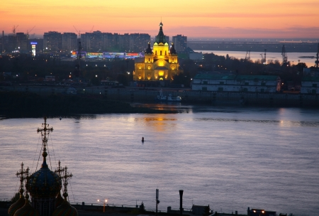 Evening view of Alexandr Nevsky Cathedral Nizhny Novgorod Russia photo