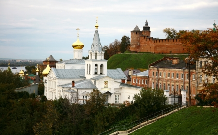Autumn view of Church Elijah the Prophet and Kremlin Nizhny Novgorod Russia photo