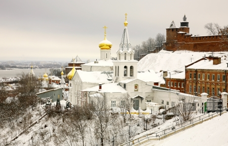 Winter december view of Church Elijah the Prophet and Kremlin Nizhny Novgorod Russia photo