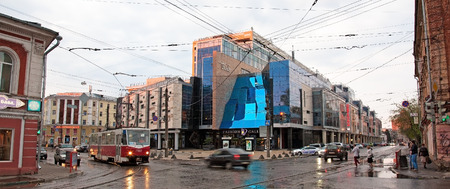 exclusively: RUSSIA, NIZHNY NOVGOROD - MAY 02, 2014: Evening spring view Lobachevsky Plaza - Business Centre and Fashion Gallery. The first and exclusively here many boutiques leading premium brands.