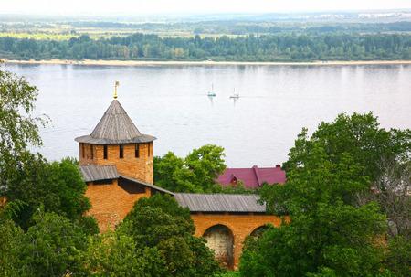 nizhny novgorod: Volga river from Kremlin Nizhny Novgorod Russia Stock Photo