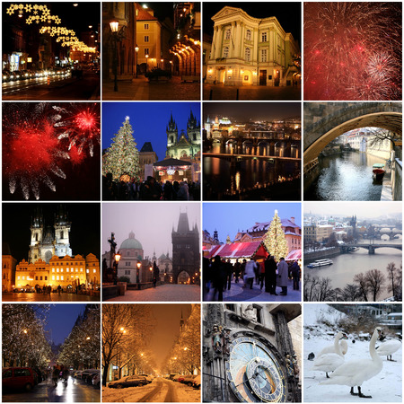 Collage of landmarks in winter Prague Stok Fotoğraf