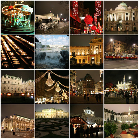 Collage of landmarks during Christmas in Vienna, Austria photo