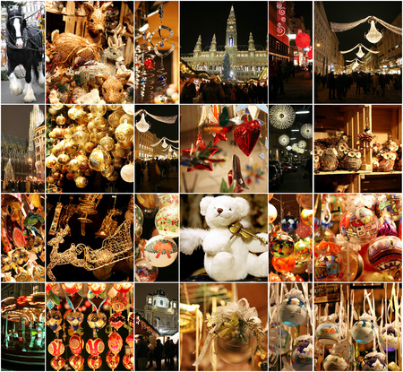 Christmas decorations on the market in Vienna Austria