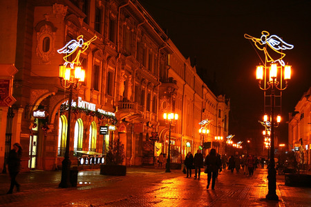 gorki: Nizhny Novgorod, Russia - December 16, 2014: Christmas winter view Bolshaya Pokrovskaya street - the main pedestrian street in old city. There are many museums; restaurants and boutiques. Editorial