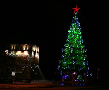 nizhny novgorod: Christmas tree with red star in Nizhny Novgorod