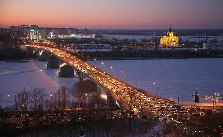 church architecture: Beautiful sunset in winter Nizhny Novgorod Russia