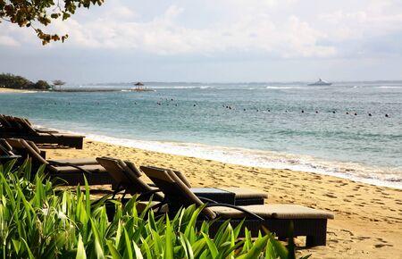 Beautiful Balinese Nusa Dua beach in Indonesia