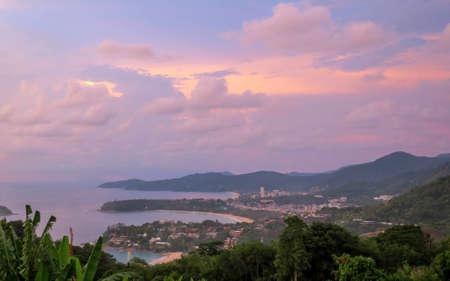 View point of Karon, Kata and Kata Noi beach in Phuket, Thailand at sunset.