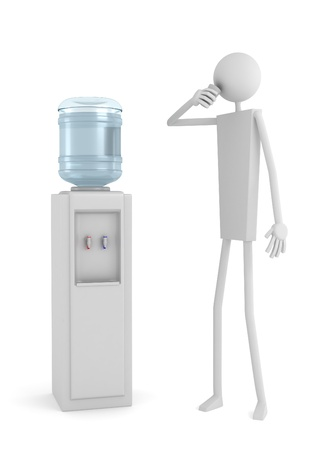 cooler: Man drinking water near cooler with water bottle on a white background, 3D render.