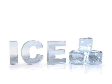 white cube: frozen text ice with ice cubes 3D render
