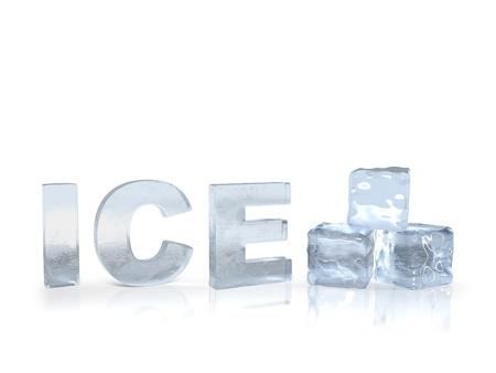 cubetti di ghiaccio: ghiaccio congelati testo con rendering 3D cubetti di ghiaccio  Archivio Fotografico