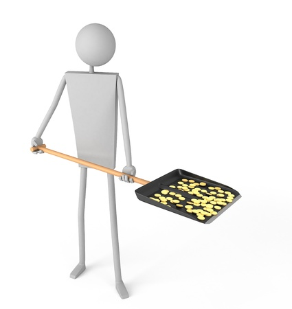 gold shovel: Man holding a shovel with coins 3d render  Stock Photo