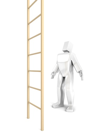 3D Man looks at the stairs illustration isolated on white. illustration