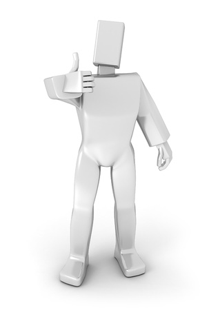 positivism: 3D man with thumbs-up isolate over a white background