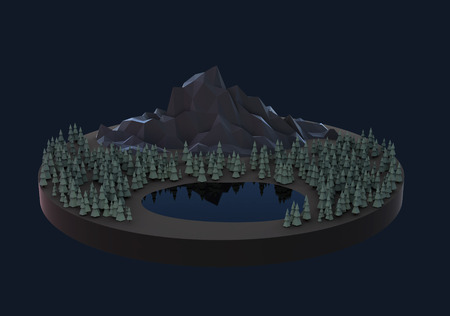 Illustration floating island with trees lowpoly mesh render illustration
