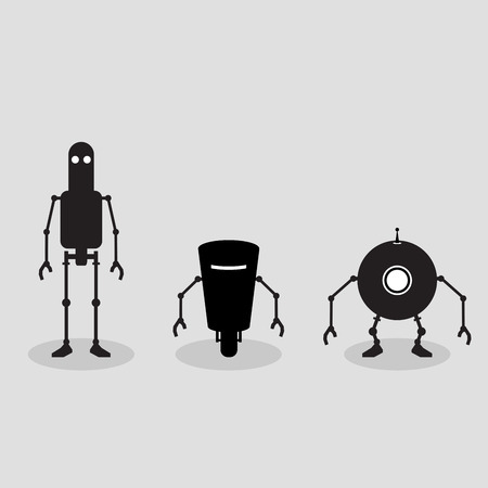 Monochrome illustration of three robots front view Vector