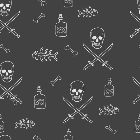 crossed swords: Pirate Skulls with Crossed Swords and Bottle of Rum Seamless Pattern Illustration