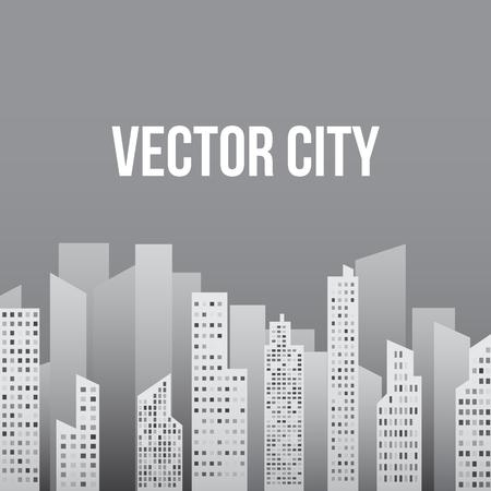 moon  metropolis: City in Shades of Light Gray Illustration