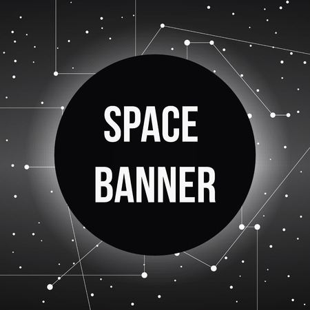 pace: black round banner on pace stars map with lines, vector background