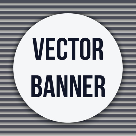 cotton velvet: Circle white banner on a striped gray background, vector illustration