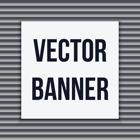 cotton velvet: square white banner on a striped gray background, vector illustration Illustration