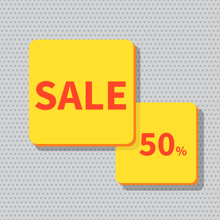 discount banner: Stock Vector Illustration. Sale banner yellow - discount 50 off. Illustration