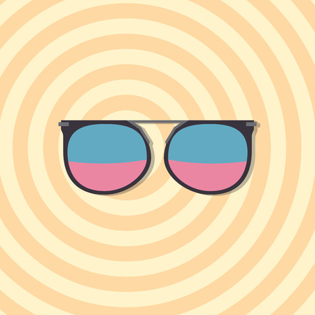 realize: Sunglasses with blue and violet glasses on yellow circles background, vector illustration