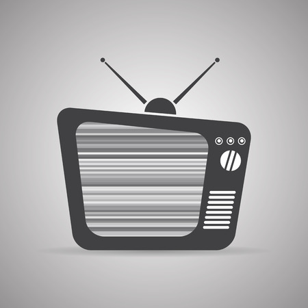 interference: Old TV icon with antennas and interference, vector illustration Illustration
