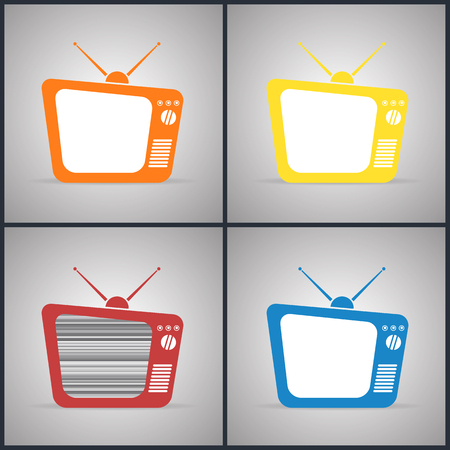 tv sets: Old TV Sets with antennas. Yellow, red, orange and blue colors, vector illustration