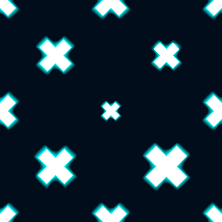 Blue seamless pattern illustration made with shinning cross. Dark background. Illustration