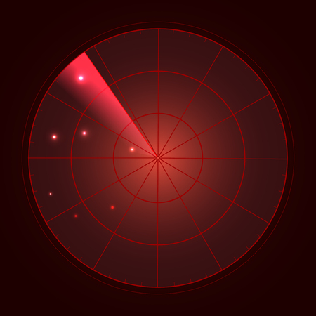 Red radar screen with targets in process ,dynamic illustration . Conceptual design of radar screen. Vector.