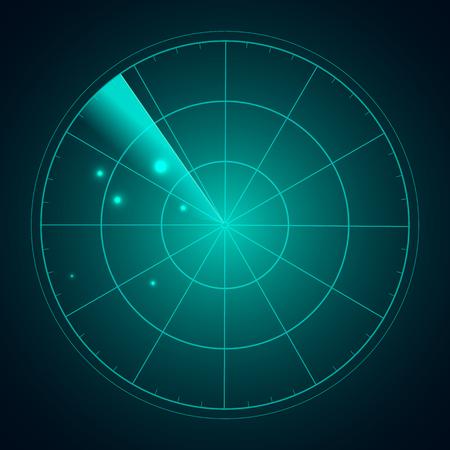 blip: Blue radar screen with targets in process ,dynamic illustration . Conceptual design of radar screen. Vector. Illustration