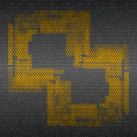 metal grid background with yellow pattern. Vector illustration