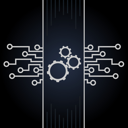 electronic circuit: Circuit board and gears vector on black background. Motherboard and computer design