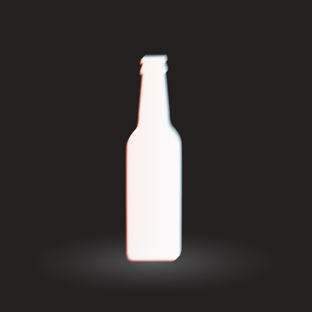 aberrations: White glowing bottle silhouette on dark background with glitch effect. Vector illustration Illustration