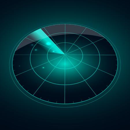 Blue radar screen with targets in process ,dynamic illustration . Conceptual design of radar screen. Vector illustration .