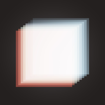 aberrations: Moving white glowing square frame on black background. Vector Illustration