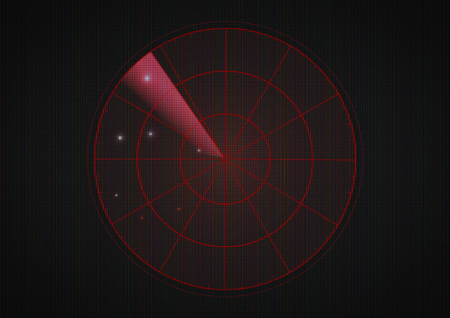 Red radar on dark screen with glitch old tv effect. Stock Photo