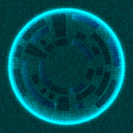 esp: Technology with lines circles and glowing background image dark green. Vector