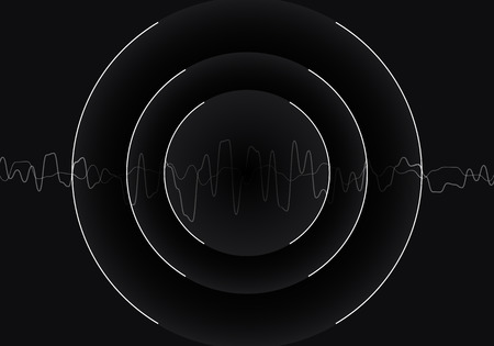 Sound waves oscillating black and white monochrome, Abstract technology background. Vector Ilustração