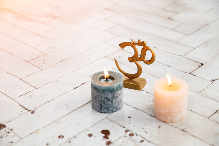 meditation room: Spiritual accessories and yoga meditation in white lit room