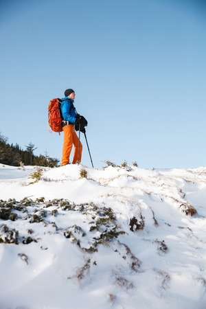 trekking pole: Male hiker in winter mountains against blue sky looking on horizon with trekking pole. Concept of success living and free traveling, active leisure, health care and well being.